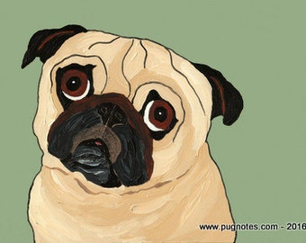 Pug Print - A92 - Fawn Pug - Standing By