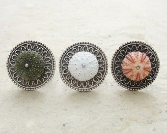 Sea Urchin Ring - Mandala Ring - Pick Your Color - Pink Green White