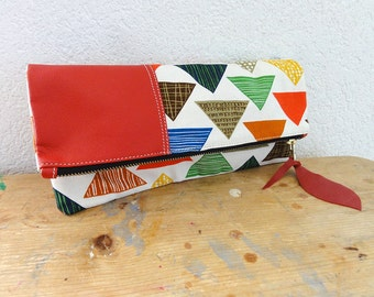 Large Leather Clutch in Italian Leather and Japanese Canvas
