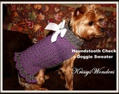1.20 Birthday Sale - Dog Sweater Crochet Pattern - Houndstooth Check Doggie Sweater - Yorkie Chihuahua Teacup - Kitty Sweater - Cat Sweater