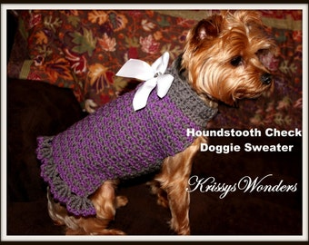 Dog Sweater Crochet Pattern - Houndstooth Check Doggie Sweater - Yorkie Chihuahua Teacup - Kitty Sweater - Cat Sweater