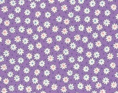 FAT QUARTER - Mini Mutli colored Flowers and Dots on PURPLE 31284-110 - Retro 30s Child Smile Collection Lecien - Daisies, Daisy, Flower