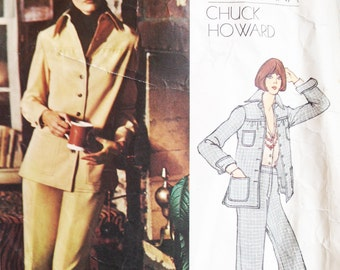 Vintage Vogue Americana Sewing Pattern Chuck Howard 80s Jacket and Pants Suit Vogue 2892 34 Bust