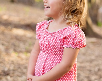 toddler tunic top- tunic- easter outfit -girls polka dot top- baby top- girls spring outfit-coral-girls clothing-girls peasant top