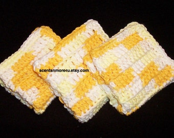 Dishcloths/Washcloths, Yellow & White