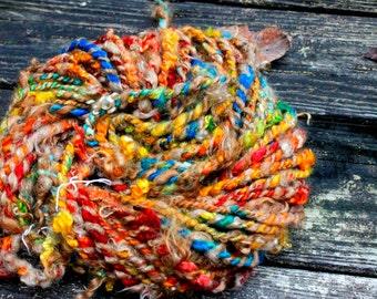 Handspun Art Yarn-Autumn Rainbow- Signature WildPlied Artisan Yarn