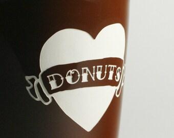 DONUT LOVE Heart Tattoo Travel Mug - choose your banner text