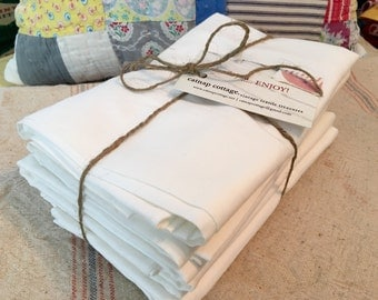 Vintage Pillowcases - Cotton Muslin Pillow Cases - White - Standard Size - New - Nos