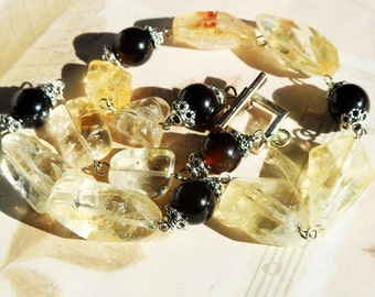 Yellow Citrine Large Nuggets and Smoky Quartz Necklace, Natural material