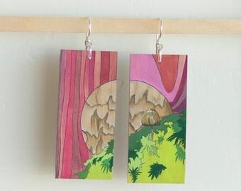 """Agaricales, Paper & Wood Earrings, .75x1.75"""""""