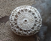 Lace Stone, Crocheted,  Table Decorations, Original, Handmade, Home Decor, Christmas Gift, Beige, Gray, Monicaj