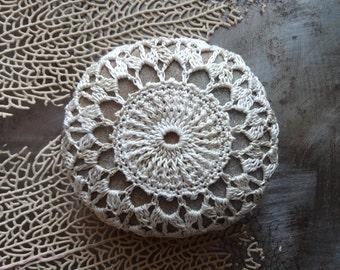 Lace Stone, Crocheted,  Table Decorations, Original, Handmade, Home Decor, Christmas Gift, Beige, Gray, Monicaj