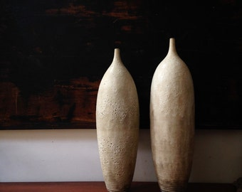 MADE TO ORDER - 1 Large white ceramic pottery vase (the larger one on the right)  in crater white glaze by sarapaloma pottery white modern