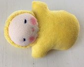 Sunshine Yellow Pocket Doll, Waldorf toy, mini baby, gift for kids, party favor, for birthday, Easter basket treat
