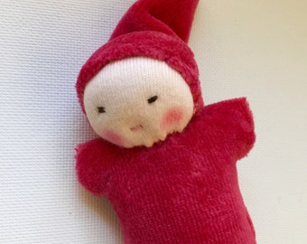 red miniature Waldorf baby, handmade toys, organic natural fiber doll, stocking stuffer, Christmas ornament