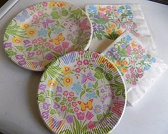 Vintage Floral Spring Summer Plates Napkins American Greetings
