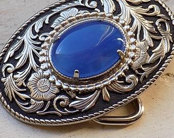 Vintage Silvertone Floral Belt Buckle with Blue Stone Cabachon