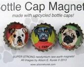 Funny Dog Magnets - Bottle Cap Magnets - Packaged Gift Set of 3 - Bull Dog - Pug - Black Labrador - Dog Gifts - Dog Art