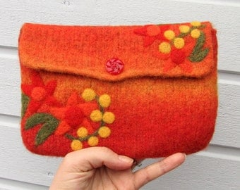 Felted bag pouch purse bag hand knit needle felted orange wool needle felted flowers