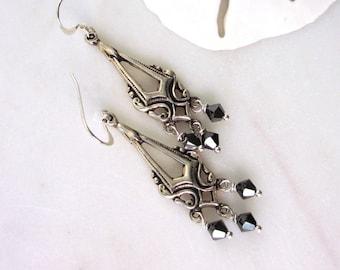 Black Crystal Earrings, Jet Hematite Swarovski Crystal Dangles, Crystal Chandelier Earrings, Long Boho Earrings, Long Earrings, Alma