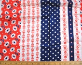 "1970s novelty stripe fabric -- red white blue -- polka dot, floral, mixed flowers -- 45"" x 3 yards, yardage"