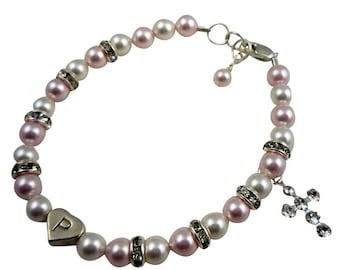 Custom design your own Cross Bracelet for Baby and Girls- rhinestone baptism bracelet with rosaline & white pearls