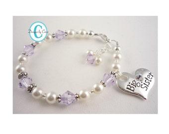 Big Sister Purple Crystal & White pearl bracelet- Little Sister Jewelry Gift