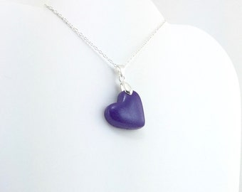 Dark Purple Heart Pendant - Simple Clay Heart Necklace - Dark Purple Heart Necklace  - Wedding Jewelry, Bridesmaid Necklace - MADE to ORDER