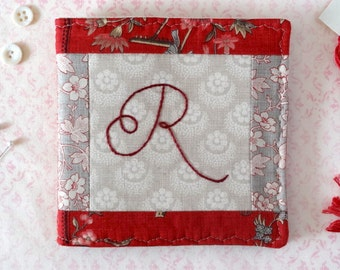 Monogram Needlebook Finished Hand Embroidery Pin Keep