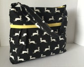 Diaper Bag - Black and White Bunny - Adjustable Strap - Rabbit Diaper Bag - Messenger Bag - Bags and Purses - Black Diaper Bag