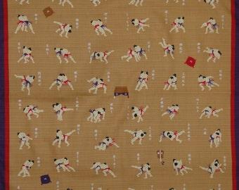Small Size Cotton 'Sumo Wrestling Moves' Motif Furoshiki Wrestling Fabric, Sumo Fabric w/Free Insured Shipping
