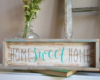 Home Sweet Home  framed hand painted hand lettered rustic wood sign aqua blue teal gray decor welcome farmhouse style wall hanging