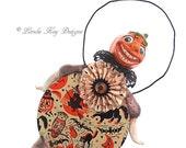 Pumpkin Art Doll Primitive Retro Assemblage Halloween JOL Ornament Decoration Lorelie Kay Original