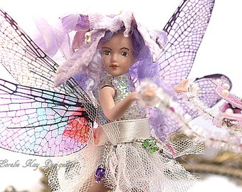 Dragonfly Art Doll Assemblage Art Doll Ornament One-of-a-kind Mixed Media Sculpture Lorelie Kay Original