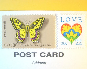 Love Butterfly Postcard Postage Stamps for 2017, Love Heart Yellow Butterfly, Mail 20 RSVP or Save the Date Postcards 34 cent rustic postage