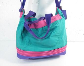 Vintage 1990s Members Only duffle bag, dance bag, school bag, gym bag, sports bag, expandable travel carry on bag, teal purple pink,