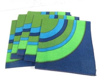 Vintage Vera Neumann style cloth napkins, navy blue circle bullseye, 60s 70s cloth napkins, set of 6, mid century modern graphic print