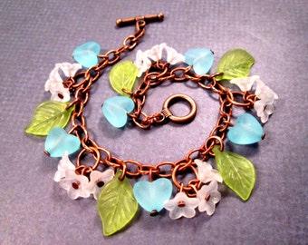Flower Charm Bracelet, White Blossoms and Blue Hearts, Copper Beaded Bracelet, FREE Shipping U.S.