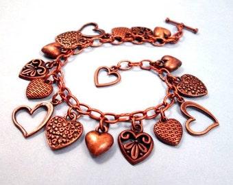 Sweetheart Bracelet, Copper Charm Bracelet, Victorian Heart Beaded Bracelet, FREE Shipping U.S.