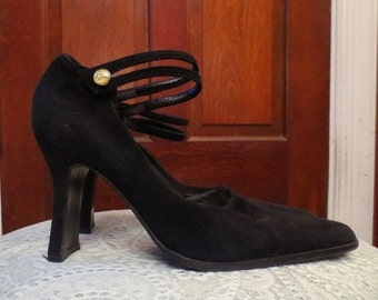 ON SALE Vintage Black Suede Ankle Strap High Heels Size 37, 7.5 Genuine Italian