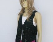 vintage 80s BEADS n SEQUINS vest | India black silk | S M