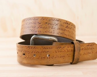 Leather Belt - Personalized in the Smokey Pattern in Antique Brown - Custom Inscription - Wedding or Third Anniversary Gift