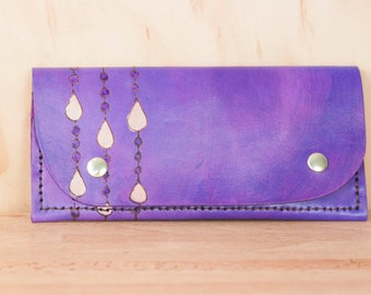 Leather Wristlet Wallet - Womens Large Wallet with Wrist Strap - Purple Rain pattern with gold raindrops - Fits iPhone 6+