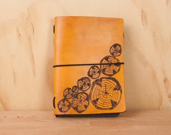 Leather Notebook - Midori - Travelers Notebook - Moleskine - Faux Bois pattern with wood rounds