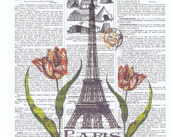 Paris,Eiffel Tower.Flower.Tulip.Antique French.book page print.france.travel.europe.buy 3 get 1 FREE, birthday.home decor.coworker.bedroom