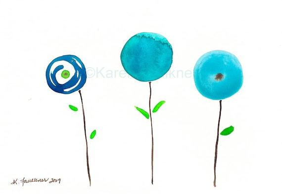 """Whimsical art print of watercolor lollipop flowers: """"Blue Posies"""""""