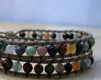 Beaded Wrap Bracelet, Boho Style Jewelry, Gemstone Wraparound Bracelet, Natural Stone Jewelry, Earth Tone Bracelet, Hippie Jewelry