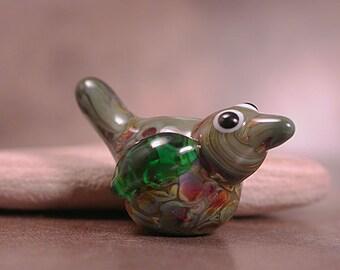 Lampwork Bird Bead Olive Green with Speckles SRA Divine Spark Designs