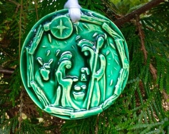 Forest Green Round Nativity Ornament Tile
