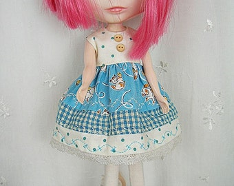 Dress for Blythe Doll, Kittens Dots